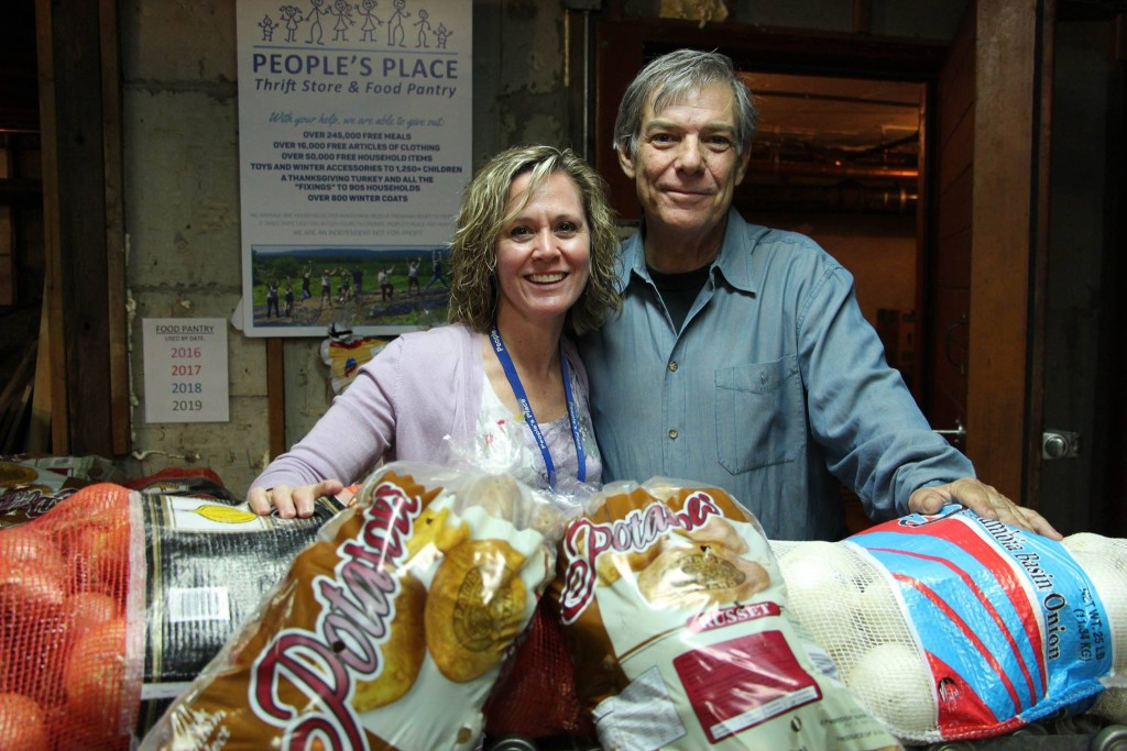 Christine Hein of People's Place and Michael Berg of Family of Woodstock at the opening of the People's Place 'food hub' in Kingston.
